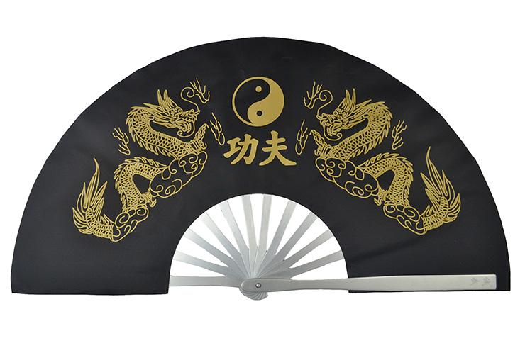 Éventail Tai Chi Métal (Haut De Gamme) Double Dragon