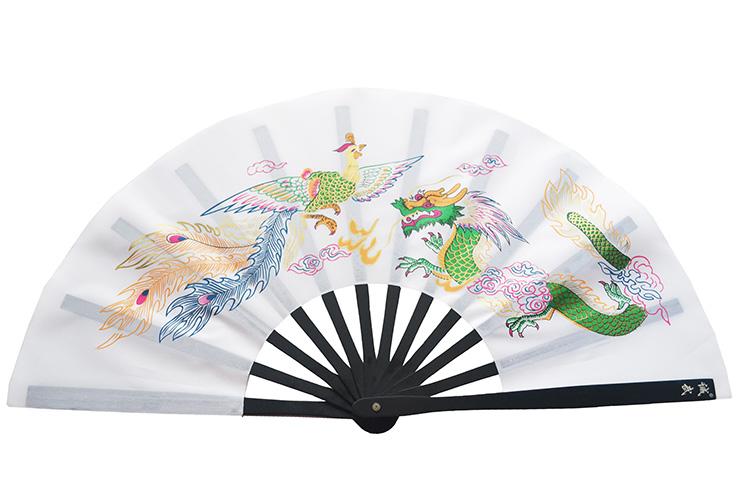 Éventail Tai Chi Métal (Haut De Gamme) Dragon Et Phoenix