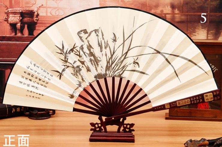 Éventail Bambou et Tissu Damas 4