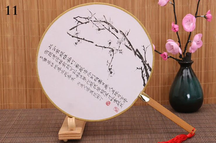 Éventail Bambou et Tissu Damas 8
