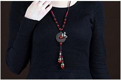 Collier, Perles de Verre Rouge