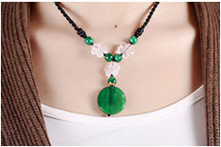 Necklace, Green Agate