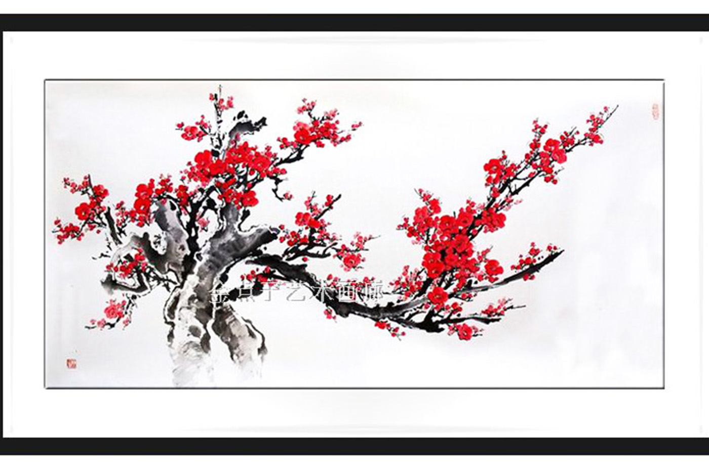 Peinture Chinoise Prunier Rouge 1