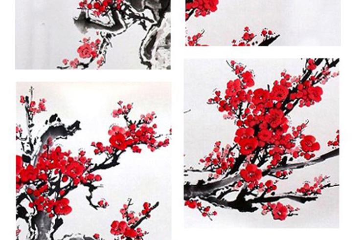 Peinture Chinoise Prunier Rouge 1