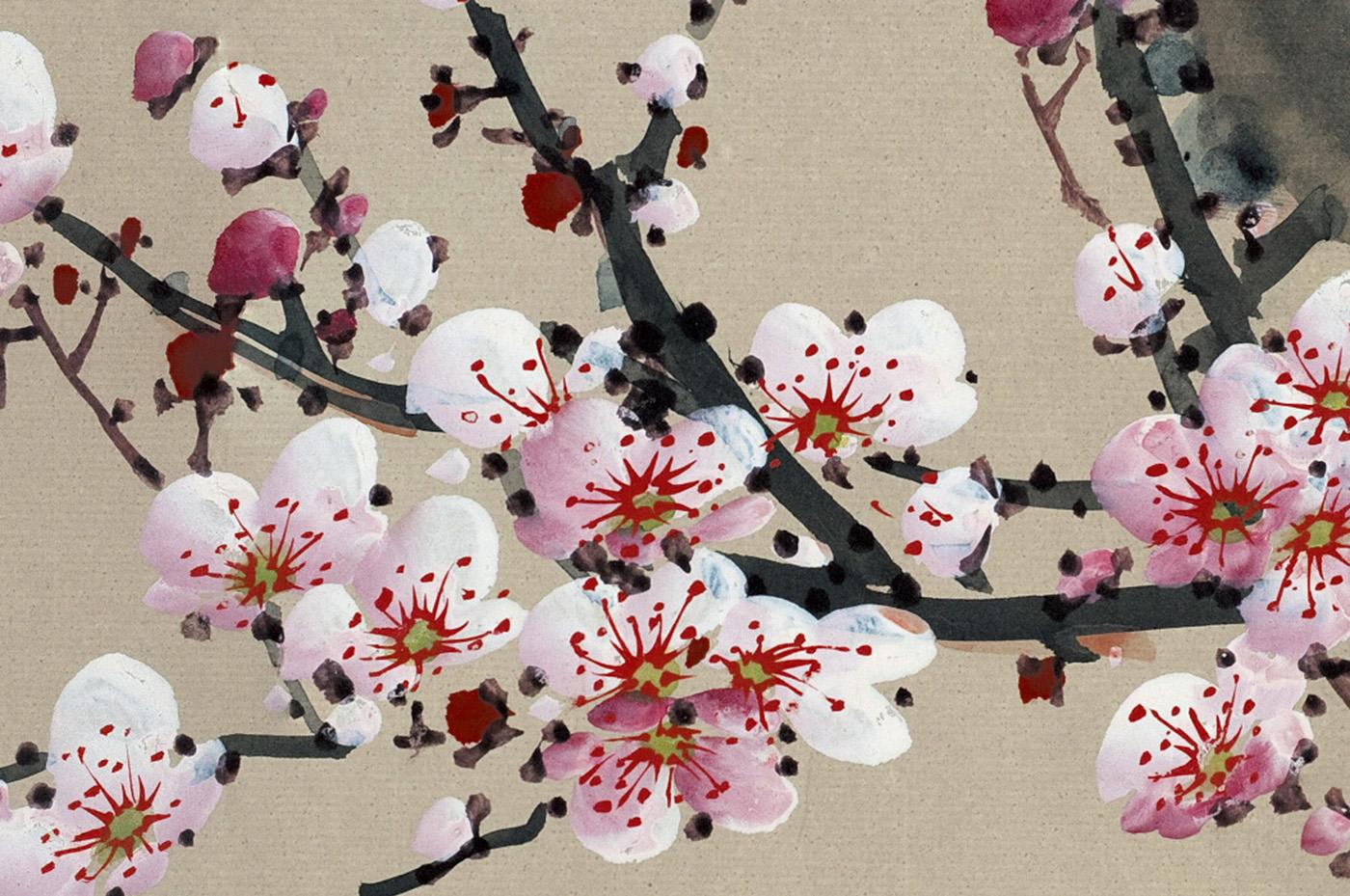 peinture fleur de cerisier montagne ecosia. Black Bedroom Furniture Sets. Home Design Ideas