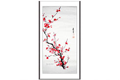 Peinture Chinoise Prunier Rouge 2
