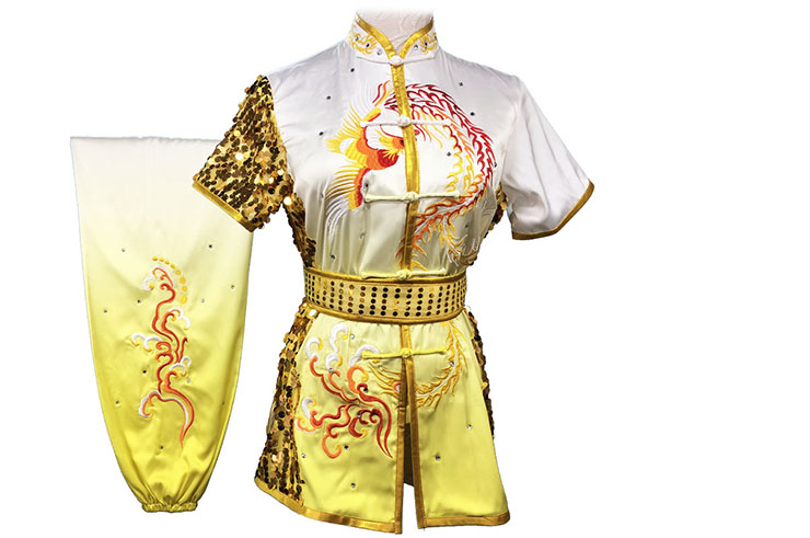 HanCui Chang Quan Compétition Uniform, White & Yellow Gradiant Phoenix