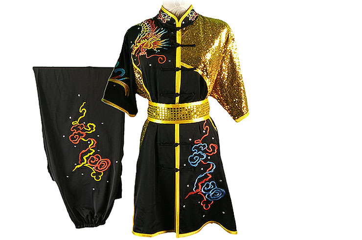 HanCui Chang Quan Competition Uniform, Black & Gold Dragon 3