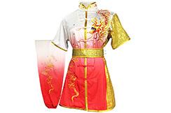 HanCui Chang Quan Competition Uniform, White & Red Gradient Dragon