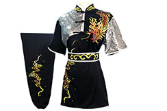 HanCui Chang Quan Competition Uniform, Black & Silver Dragon