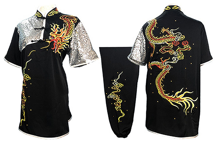 HanCui Chang Quan Competition Uniform, Black & Silver Dragon