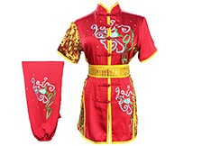 HanCui Chang Quan Competition Uniform, Red & Gold Flowers