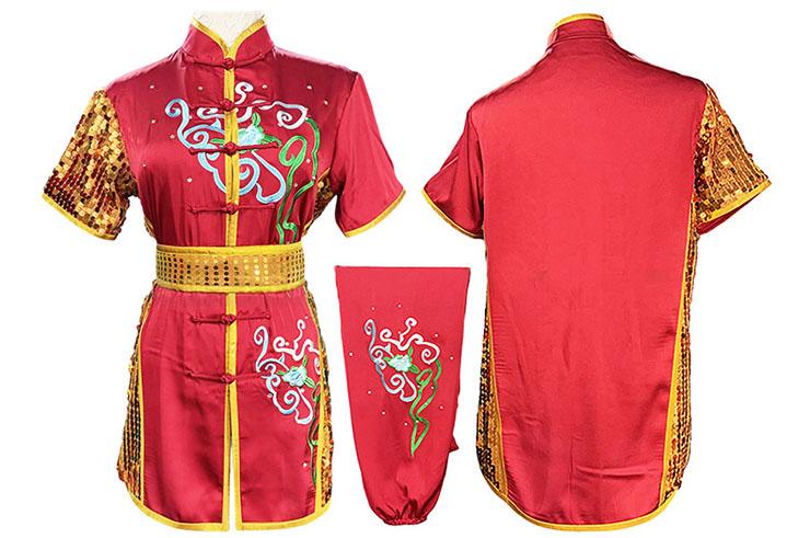 HanCui Chang Quan Competition Uniform, Red & Gold Flowers