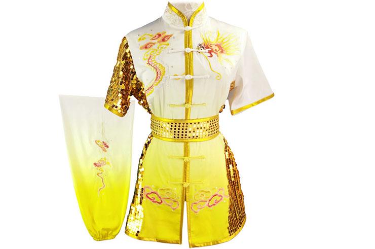 HanCui Chang Quan Compétition Uniform, White & Yellow Gradiant Dragon