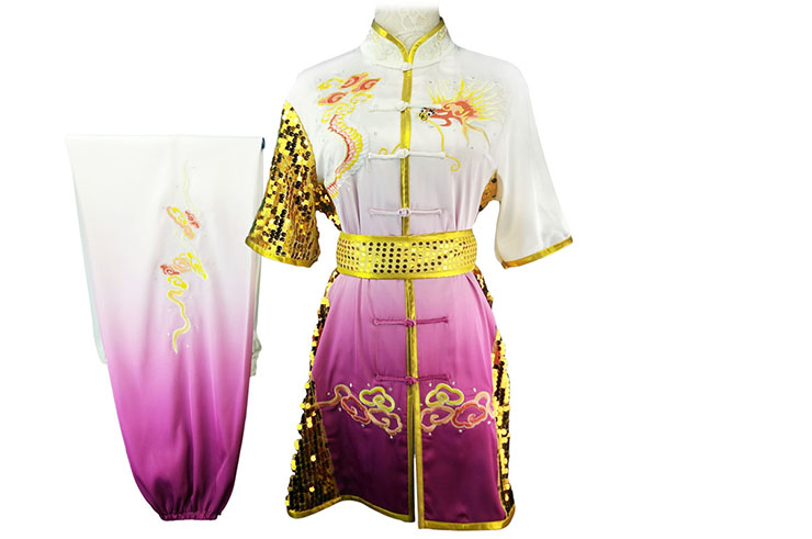 Tenue Compétition Chang Quan HanCui, Dragon Dégradé Blanc & Violet