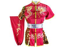 Traje competición Chang Quan HanCui, Dragón Rosa, Oro y Plata