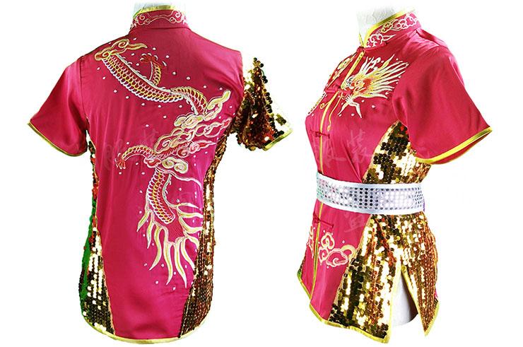 HanCui Chang Quan Competition Uniform, Pink, Gold & Silver Dragon