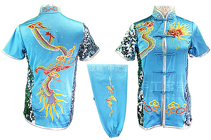 HanCui Chang Quan Competition Uniform, Sky Blue & Silver Dragon