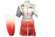 HanCui Chang Quan Competition Uniform, White & Red Gradiant Silver Dragon