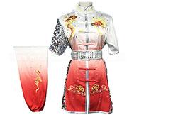 HanCui Chang Quan Competition Uniform, White & Red Gradiant Silver Dragon