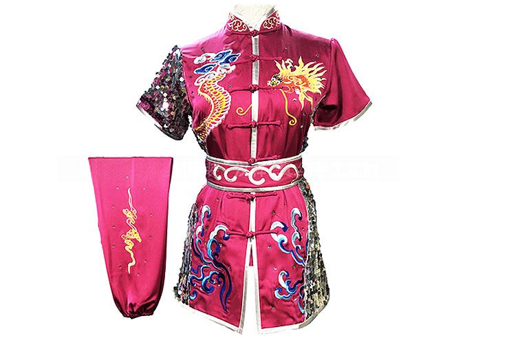 HanCui Chang Quan Competition Uniform, Pink & Silver Dragon