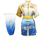 HanCui Chang Quan Competition Uniform, White & Blue Gradient Dragon