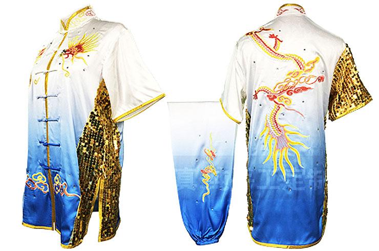 HanCui Chang Quan Competition Uniform, White & Blue Gradient Dragon