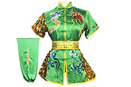 HanCui Chang Quan Competition Uniform, Green & Gold Dragon