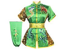 HanCui Chang Quan Competition Uniform, Green & Gold Dragon
