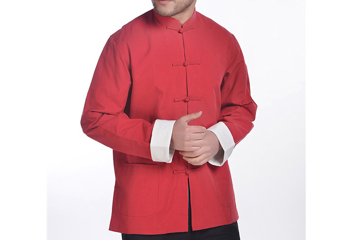 Top tradicional 'Tangzhuang' Con Solapa, forrado, de algodón