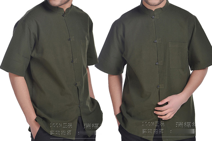 Camisa China Mangas Cortas, algodón