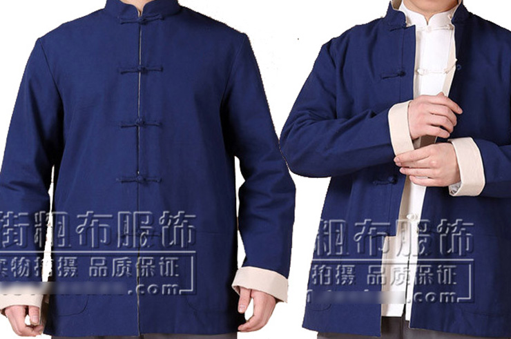 Top tradicional 'Tangzhuang' Mangas Largas, Reversible