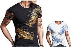 T-shirt Dragon sérigraphie 3, Extensible