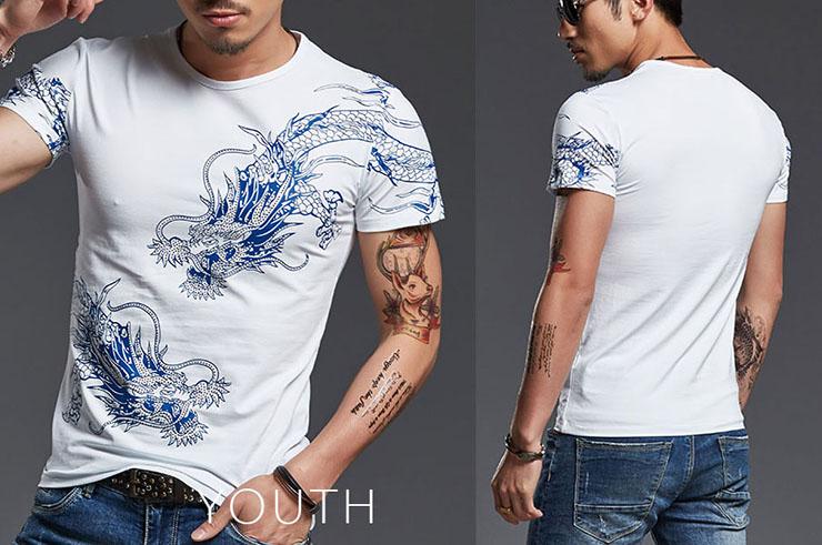 T-shirt Dragon sérigraphie 3, Extensible