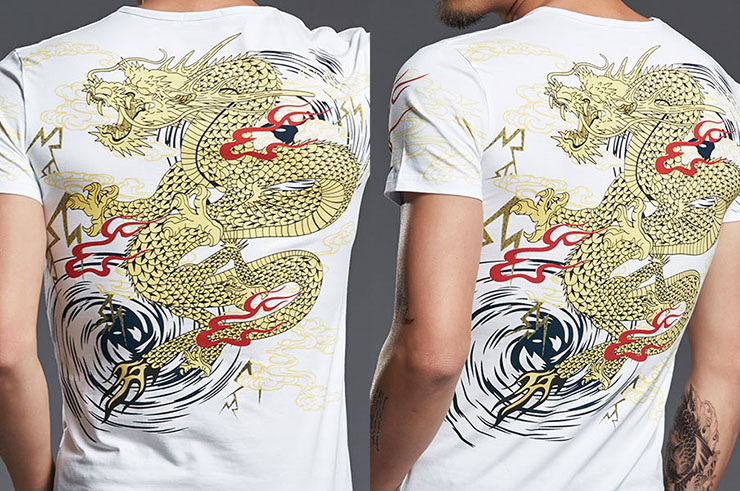 T-shirt Dragon sérigraphie 6, Extensible