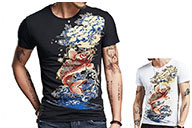 Fish Sceen Printing T-shirt , Extensible