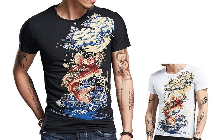 Fish Sceen Printing T-shirt , Extensible