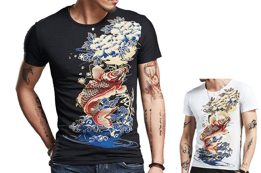 Fish Sceen Printing T Shirt Extensible