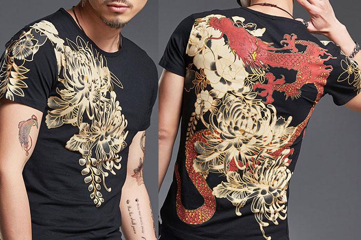 T-shirt Fleur sérigraphie, Extensible